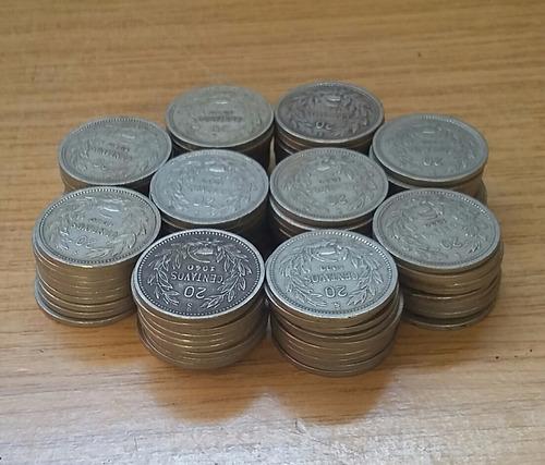 lote 100 monedas de 20 centavos nickel diferentes años
