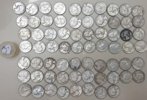 lote 100 monedas plata fina 25 centavos 1959 a 64 quarters