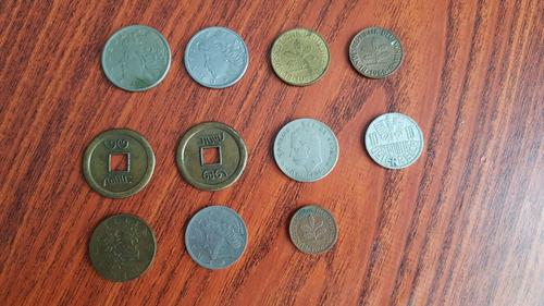 lote 11 monedas extranjeras antiguas brasil alemania etc
