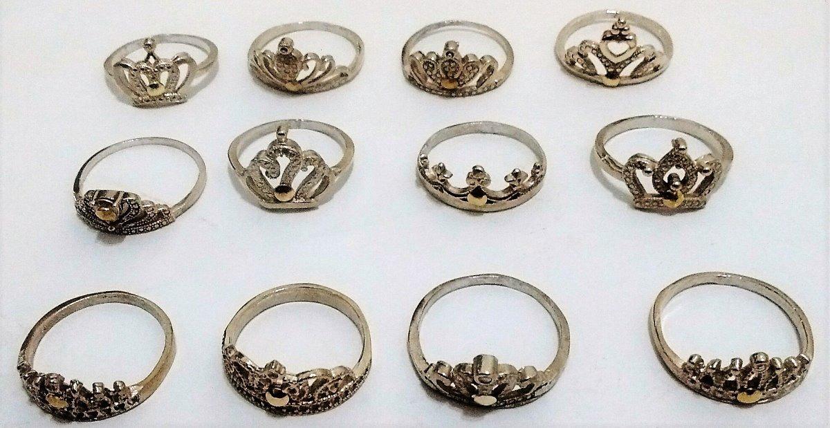 00ef0bf3e253 lote 12 anillos coronas plata 925 con apliques de oro. Cargando zoom.