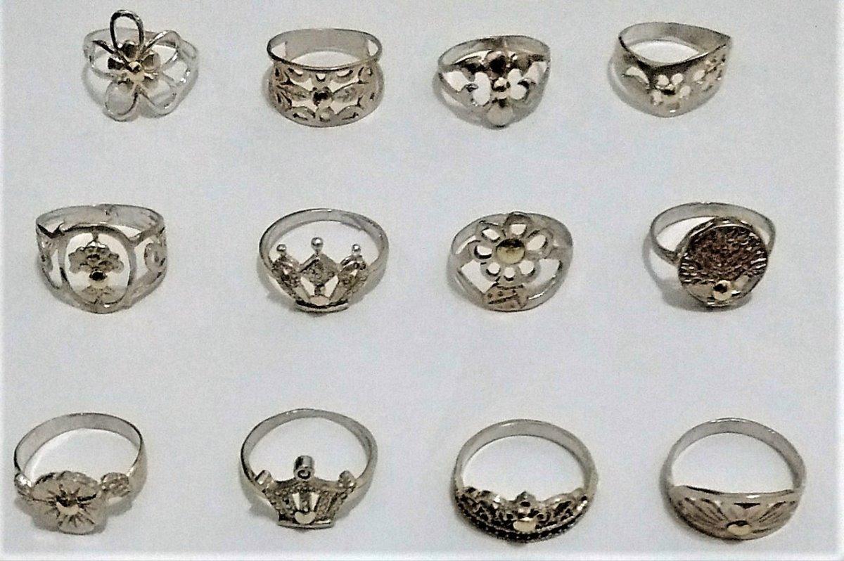 bba1496e6261 lote 12 anillos plata 925 y apliques oro n° 14 y 15. Cargando zoom.