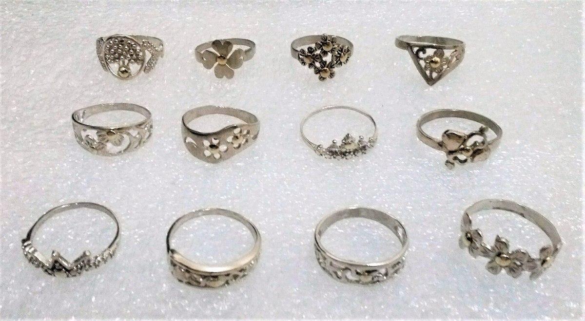 4047364f647b lote 12 anillos plata 925 y apliques oro n° 19 al 24. Cargando zoom.