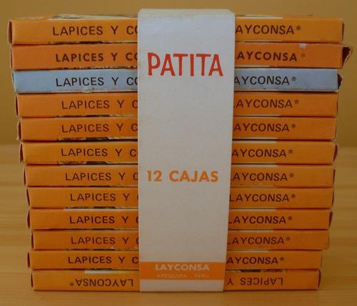 lote 12 cajitas de colores patita layconsa faber