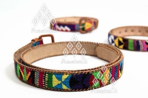 venta al por mayor zapatos exclusivos compra venta Lote 12 Cinturones Artesanales Tejido Multicolor Sobre Piel
