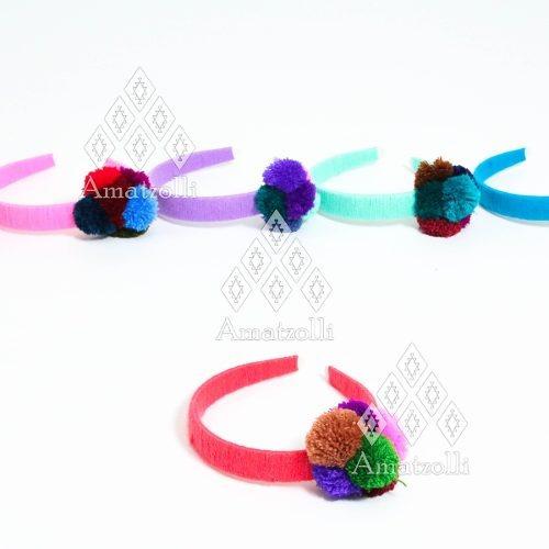 lote 12 diademas artesanales mexicanas tejidas y con pompón