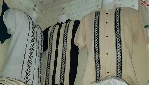 lote 12 guayaberas artesanales para caballero/bordadas/ mex.