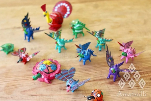 lote 130 alebrijes artesanales miniatura cabeza móvil