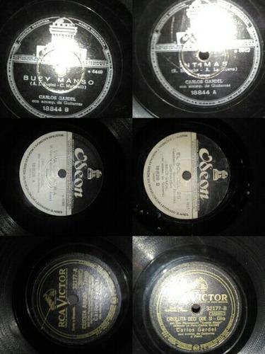 lote 14 discos de pasta de 78 rpm carlos gardel ver fotos !!