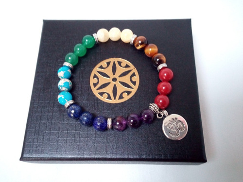 lote 15 pulseras 7 chakras dije om, arbol vida y flor loto