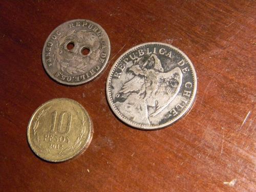 lote 16 monedas chilenas antiguas de plata y otras