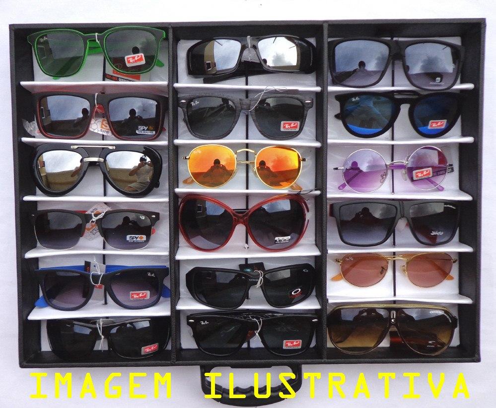 b78c84b4d3caa Lote 18 Óculos Revenda + Expositor Maleta Caixa Estojo Porta - R ...