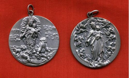lote 2 antiguas medallas alpaca vírgenes 4cm diámetro olivos