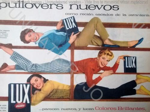 lote 2 antiguas publicidad clipping jabón lux para ropa 1957