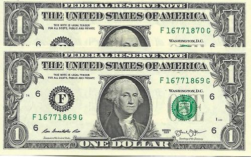 lote 2 billetes 1 dolar ee.uu: consec.  s/circular palermo