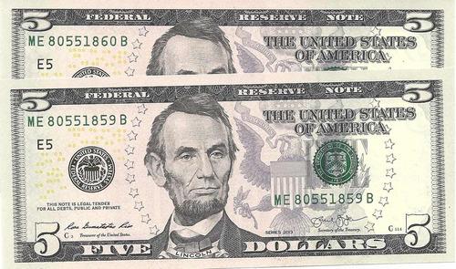 lote 2 billetes 5 dolares ee.uu. consec. s/circular palermo