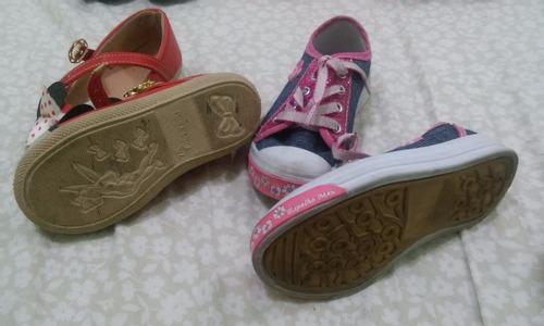 lote 2 calçados menina - tênis 23/24 e sapatinho 25