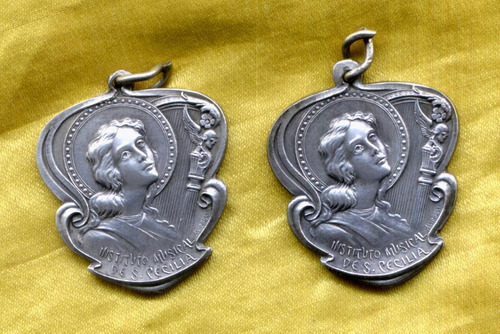 lote 2 medallas instituto musical santa cecilia al merito ex