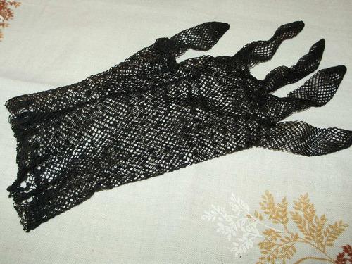 lote 2 pares antiguos guantes dama puntillas