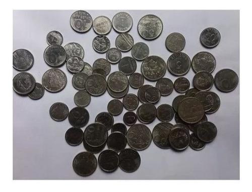 lote 200 moedas inox nacionais antigas - variadas