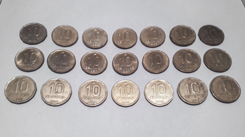 lote 21 monedas 10 centavos austral argentina (1986 a 1988)