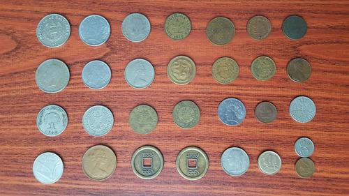 lote 25 monedas extranjeras antiguas brasil alemania etc