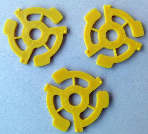 lote 3 adaptadores 45 rpm vinilos simple single 7 pulgadas