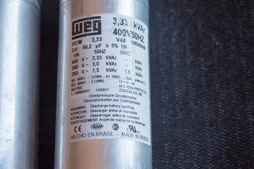 lote 3 capacitores 66.5 uf 415v corrector factor potencia