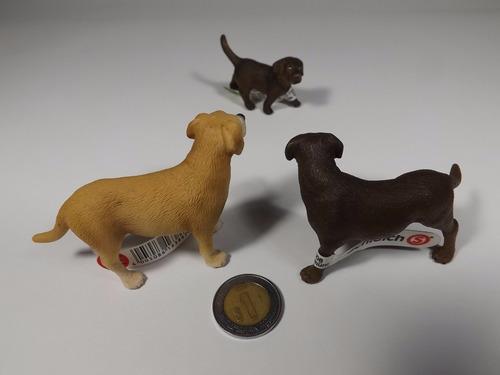 lote 3 figuras schleich familia perro cachorro raza labrador
