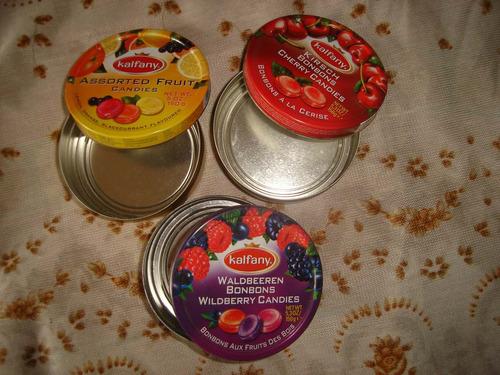lote 3 latas vacias bombones de fruta kalfany. excelentes!!