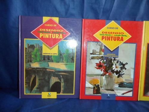 lote 3 livros da coleção desenho e pintura da editora globo