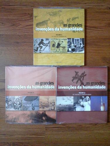 lote 3 livros novos - as grandes invenções da humanidade