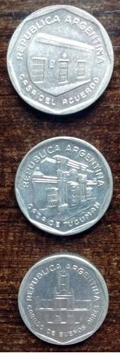 lote 3 monedas 1 + 5 + 10 australes 1989 excelente