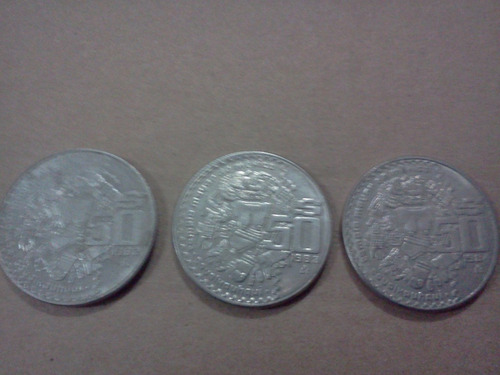 lote 3 monedas de 50 pesos temp mayor años 82, 83 y 84