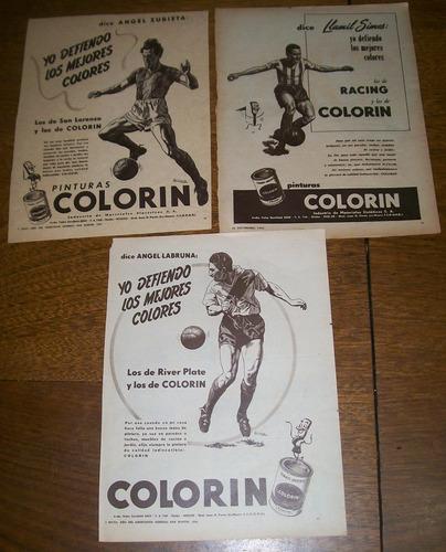 lote 3 publicidades pinturas colorin (025) labruna simes