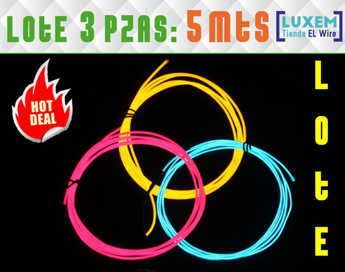 lote 3 pzas 5 mts el wire cable hilo neon luminoso tron led