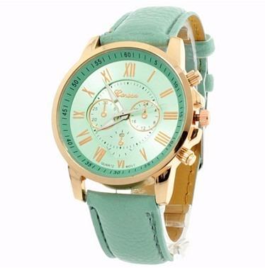 Lote 3 Pzas Reloj Pulsera Análogo Números Romanos Verde 28500