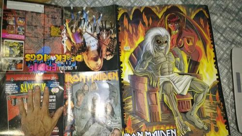 lote 3 revistas iron maiden poster grande heavy metal rock