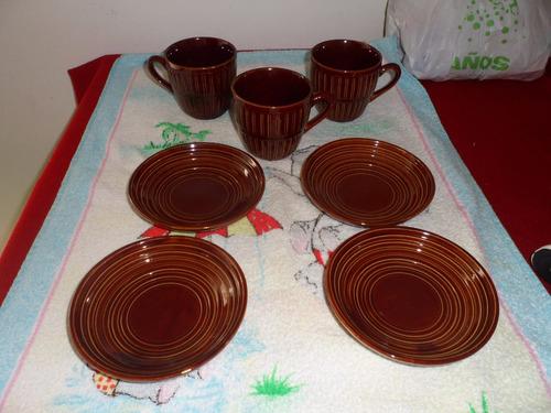 lote 3 tazas y 4 platillos marrones !!!