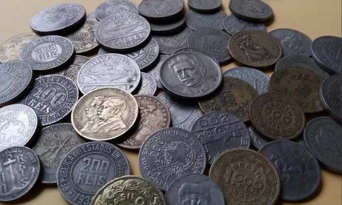 lote 30 moedas antigas nacionais de réis  (só réis)