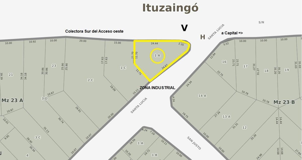 lote 320 m2 zona industrial frente al acceso oeste