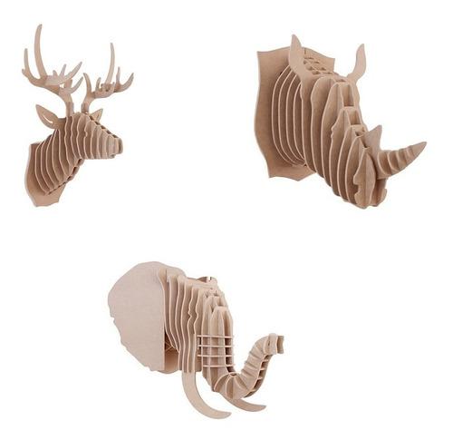 lote 3pzs venado elefante rino  6mm mdf decora regalo