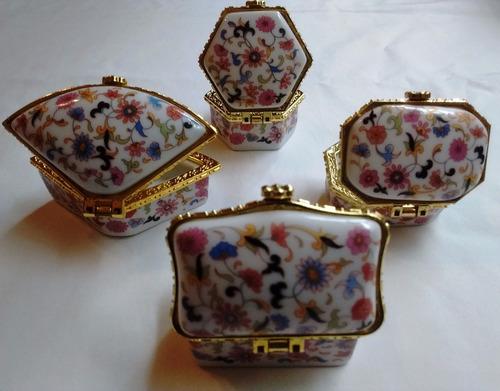 lote 4 cajitas chinas porcelana en caja motivo flores regalo