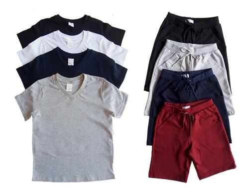 lote 4 camisetas +4 bermudas infantil