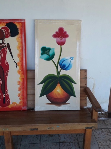 lote 4 cuadros pintados a mano.