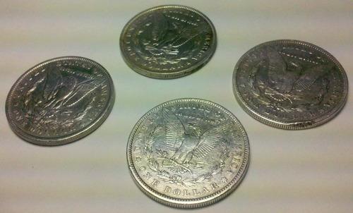lote 4 dolares morgan 1921 plata 900 excelente acpt m.p.
