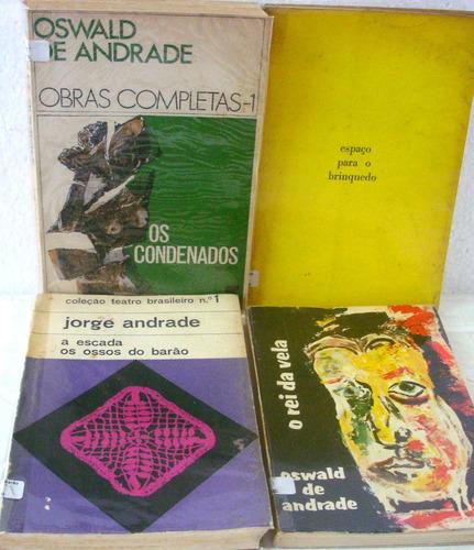 lote 4 livros: teatros - oswald de andrade e outros
