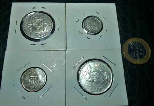 lote 4 moedas antigas de prata estrangeiras sem repetição