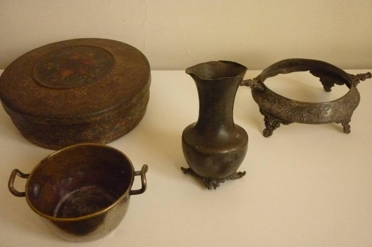 Lote 4 objetos antiguos de metal en mercado libre for Compra de objetos antiguos