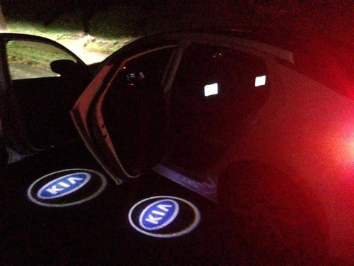 lote 4 proyectores puertas auto luz led  logo marca vw ford