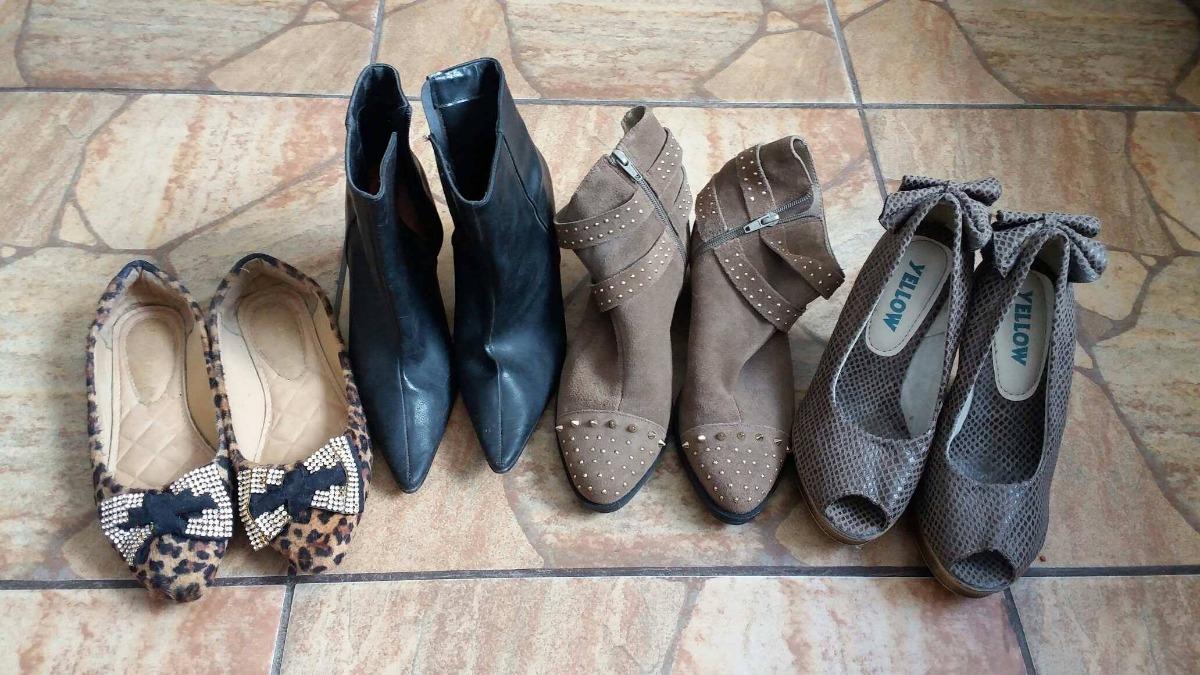 e768f8788 Lote 4 Sapatos Femininos Tamanho 35 - R  130